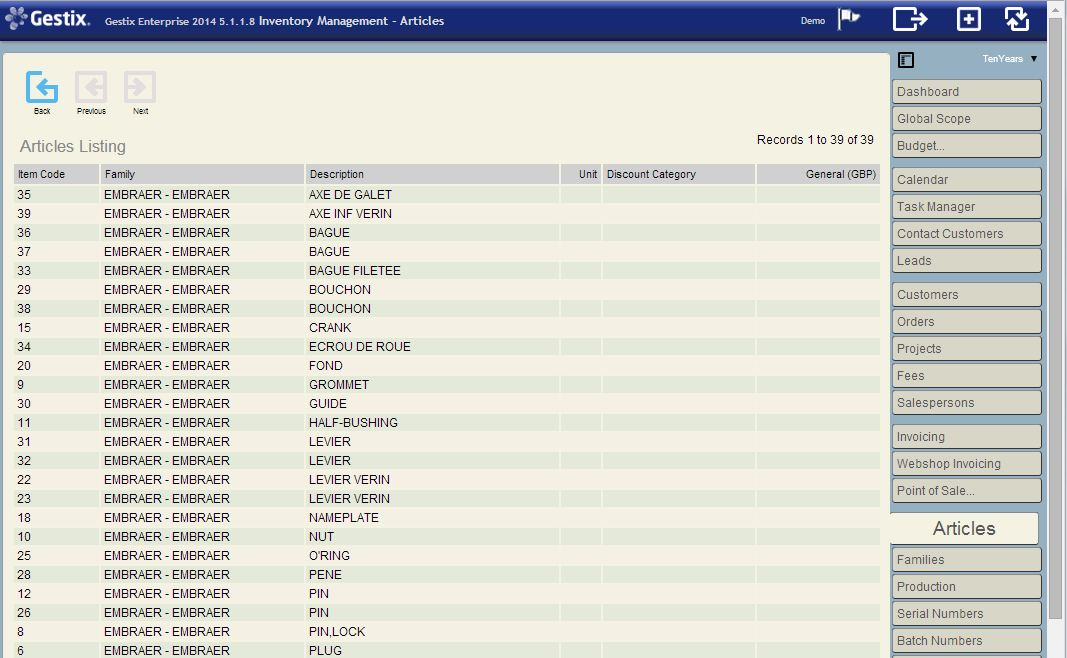 Listing the Embraer family of items just transferred from the CSV file
