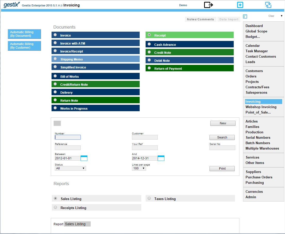 Entering payments and partial payments with Gestix ERP
